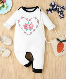 Baby Girl Autumn Print White Button Up Rompers with Headband