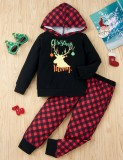 Kids Boy Weihnachtsdruck Hoodie Shirt und Hosen Set