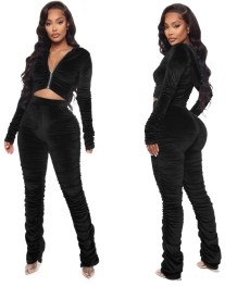 Autumn Pure Velvet Ruched Hoodie Tracksuit