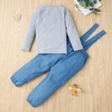 Kinder Mädchen Herbst Shirt und Strapshose Set