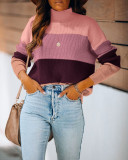 Autumn Contrast Rollkragenpullover Regular Pullover Sweater Top