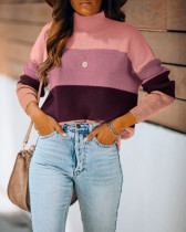Top maglione pullover regolare a collo alto a contrasto autunnale