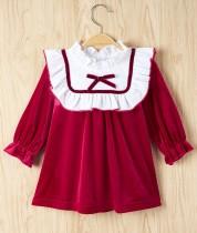 Baby Mädchen Herbst A-Linie Samtkleid