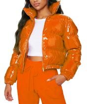 Veste en polyuréthane courte rembourrée de couleur unie d'hiver