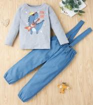 Camicia autunnale per bambina e pantaloni con bretelle