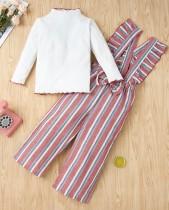 Осенняя белая рубашка для девочек и брюки в полоску на подтяжках