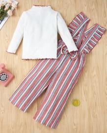 キッズガール秋の白いシャツとサスペンダーストライプパンツセット
