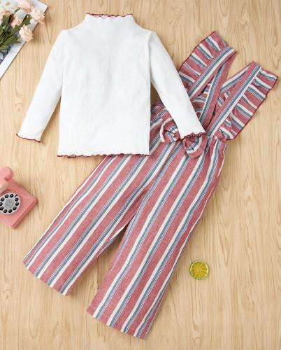 Kinder Mädchen Herbst weißes Hemd und Strapsstreifen Hosen Set