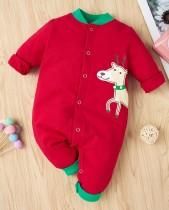 Mamelucos con botones y estampado navideño para bebé niño