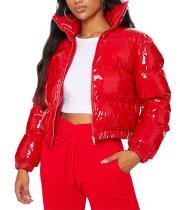 Winter Solid Color Gepolsterte PU-Jacke mit kurzem Reißverschluss