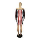 Herfstfeest off-shoulder brede strepen bodycon-jurk