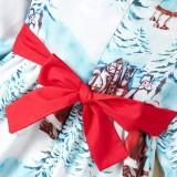 Vestido de festa infantil com estampa de natal