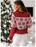 Weihnachtsdruck Round Neck Regular Pullover Sweater Top