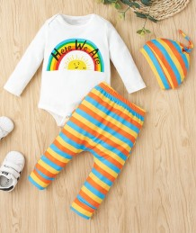 Baby Boy Autumn Rainbow Pants Set with Matching Hat