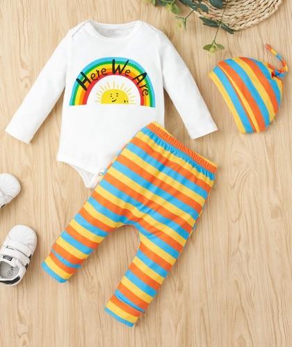 Eşleşen Şapkalı Erkek Bebek Sonbahar Gökkuşağı Pantolon Takım