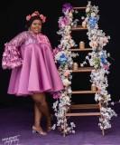 Afrikanische Mutter der Braut Blumen Kurzes Kleid