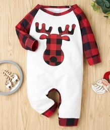 Baby Boy Christmas Print Button Up Rompers