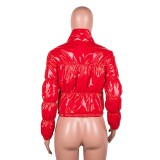 Winter Solid Color Padded Short Zipper PU Jacket