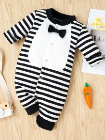 Baby Boy Stripes Gentleman Button Up Rompers