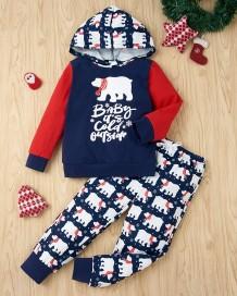 Çocuk Boy Noel Baskı Hoodie Gömlek ve Pantolon Seti