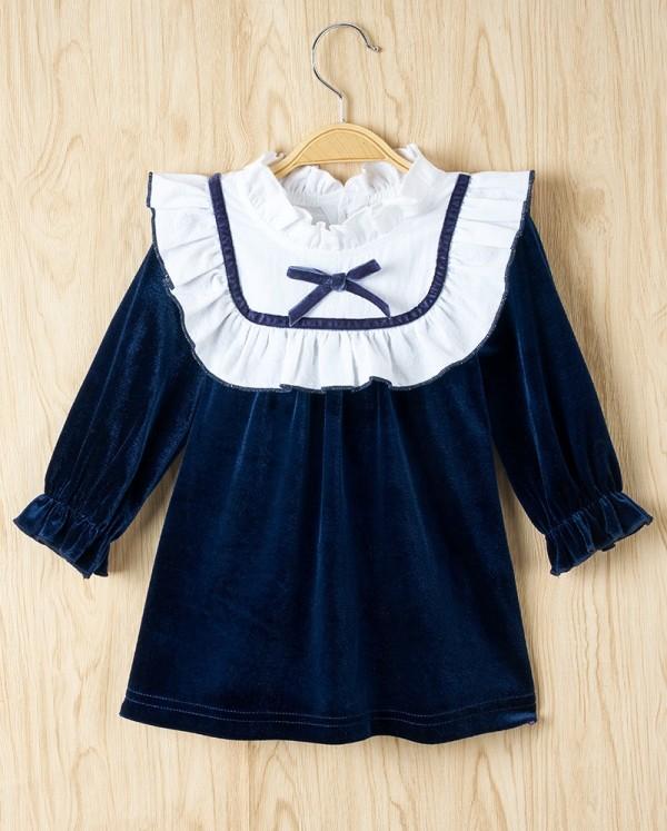 Robe trapèze en velours d'automne pour bébé fille