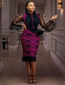 African Mother of the Bride Floral Rose Ruffles Pencil Dress