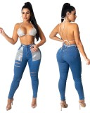 Herbstliche Patchwork-Jeans mit hoher Taille