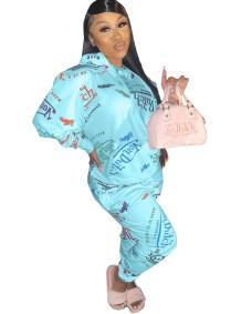 Sudadera con capucha y corte holgado con estampado de letras otoñales