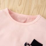 Kinder Mädchen Herbst Leopardenmuster Shirt und Hosen Set