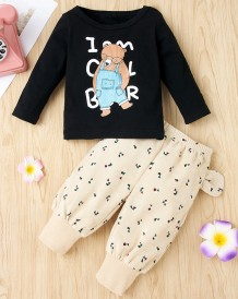Conjunto de camisa y pantalón con estampado de dibujos animados de otoño para niña