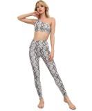 Summer Snake Skin Yoga Ein-Schulter-Tanktop und Legging-Set mit hoher Taille