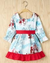 Kinder Mädchen Weihnachten Print Party Kleid