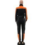 Herbstlicher Kontrast Rollkragen-Trainingsanzug mit Reißverschluss