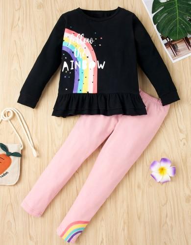 Kinder Mädchen Herbst Regenbogen Print Shirt und Hosen Set