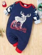 Baby Boy Weihnachtsdruck Button Up Strampler