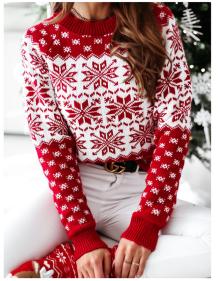 Suéter regular con cuello redondo y estampado navideño