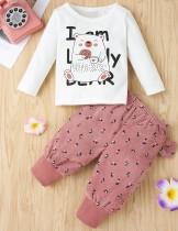 Set camicia e pantaloni con stampa fumetto autunno ragazza per bambini