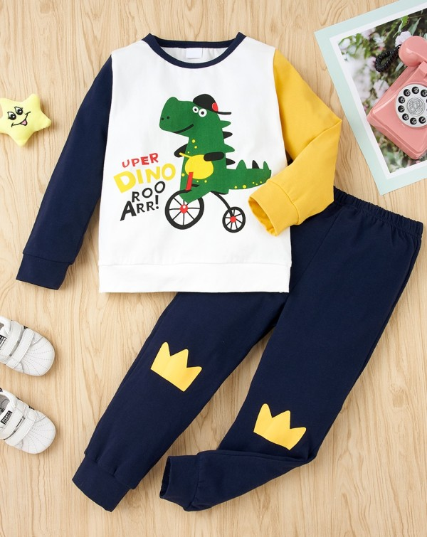 Kids Boy Herbst Cartoon Print Shirt und Hosen Set