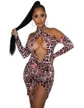 Vestido de leopardo con estampado de mariposa sexy de fiesta de otoño