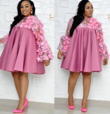 African Mother of the Bride Floral Short Dress
