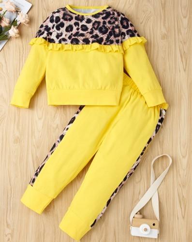 Kinder Mädchen Herbst Leopardenmuster Rüschenhemd und Hosen Set