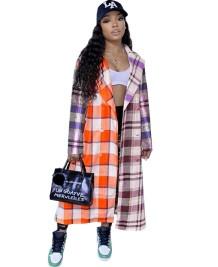 Autumn Colorful Plaid African Long Coat