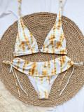 Zweiteilige Tie Dye Metall Ring Strings Halfter Badebekleidung