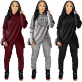Winter Solid Color Wrapped Hoodie Top und Hosen Set