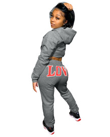 Autumn Letter Print Crop Top and Pants Hoodie Sweatsuit