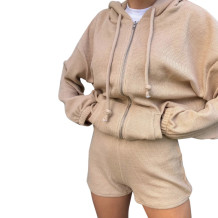 Autumn Ribbed Top and Shorts Hoodie Tracksuit