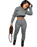 Crop Top und Hosen Hoodie Sweatsuit mit Herbstbriefdruck