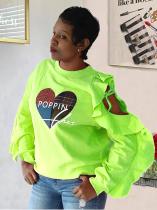 Camisa con volantes y estampado de corazón otoñal