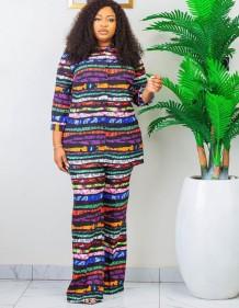 Sonbahar Afrika Baskı Anne Zarif İki Parçalı Pantolon Seti