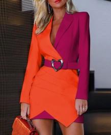 Autumn Contast Elegant Blazer Dress with Belt